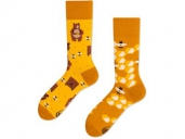 Many Mornings Mismatched Socks Honey Bear 35-38